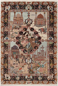 Tabriz 50 Raj Med Silke Teppe 100X148 Ekte Orientalsk Håndknyttet Mørk Brun/Lys Grå (Ull/Silke, Persia/Iran)