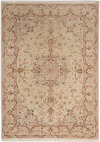 Tabriz 50 Raj Med Silke Teppe 107X150 Ekte Orientalsk Håndknyttet Brun/Lysbrun/Mørk Beige (Ull/Silke, Persia/Iran)