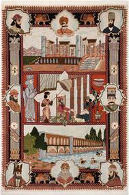 Tabriz 50 Raj Teppe 103X150 Ekte Orientalsk Håndknyttet Lys Grå/Mørk Rød/Mørk Brun (Ull/Silke, Persia/Iran)