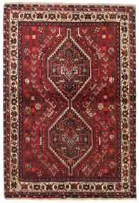 Shiraz Teppe 106X155 Ekte Orientalsk Håndknyttet Mørk Rød/Mørk Brun (Ull, Persia/Iran)