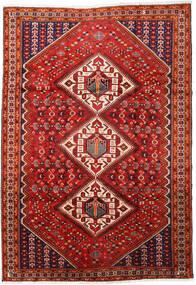 Shiraz Teppe 217X316 Ekte Orientalsk Håndknyttet Mørk Rød/Rust (Ull, Persia/Iran)