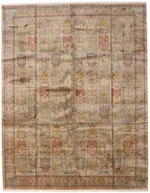 Kashmir Ren Silke Teppe 307X394 Ekte Orientalsk Håndknyttet Lysbrun/Lys Grå Stort (Silke, India)
