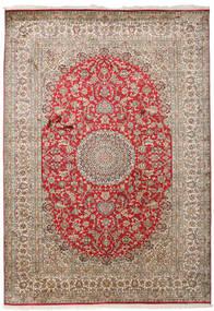 Kashmir Ren Silke Teppe 171X244 Ekte Orientalsk Håndknyttet Lys Grå/Mørk Brun (Silke, India)