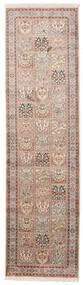 Kashmir Ren Silke Teppe 83X302 Ekte Orientalsk Håndknyttet Teppeløpere Lys Grå/Beige (Silke, India)