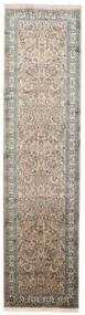Kashmir Ren Silke Teppe 79X311 Ekte Orientalsk Håndknyttet Teppeløpere Lys Grå/Mørk Grå (Silke, India)