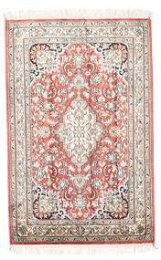 Kashmir Ren Silke Teppe 63X93 Ekte Orientalsk Håndknyttet Beige/Lys Grå (Silke, India)