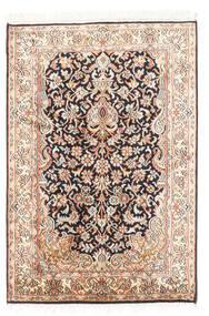 Kashmir Ren Silke Teppe 63X94 Ekte Orientalsk Håndknyttet Beige/Mørk Grå (Silke, India)