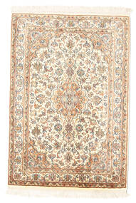Kashmir Ren Silke Teppe 65X94 Ekte Orientalsk Håndknyttet Beige (Silke, India)