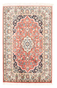 Kashmir Ren Silke Teppe 63X97 Ekte Orientalsk Håndknyttet Beige/Mørk Beige (Silke, India)