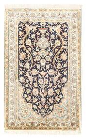 Kashmir Ren Silke Teppe 65X101 Ekte Orientalsk Håndknyttet Beige/Lys Grå (Silke, India)