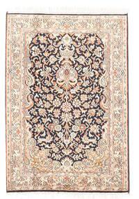Kashmir Ren Silke Teppe 65X93 Ekte Orientalsk Håndknyttet Hvit/Creme/Mørk Grå (Silke, India)
