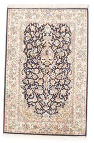 Kashmir Ren Silke Teppe 63X97 Ekte Orientalsk Håndknyttet Hvit/Creme/Lys Grå (Silke, India)