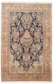 Kashmir Ren Silke Teppe 124X189 Ekte Orientalsk Håndknyttet Brun/Beige (Silke, India)