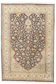 Kashmir Ren Silke Teppe 124X182 Ekte Orientalsk Håndknyttet Beige/Mørk Beige (Silke, India)