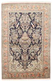 Kashmir Ren Silke Teppe 124X193 Ekte Orientalsk Håndknyttet Mørk Beige/Beige (Silke, India)