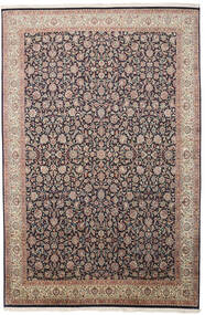 Kashmir Ren Silke Teppe 211X319 Ekte Orientalsk Håndknyttet Lys Grå/Svart (Silke, India)