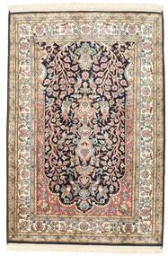 Kashmir Ren Silke Teppe 81X120 Ekte Orientalsk Håndknyttet Beige/Mørk Grå (Silke, India)