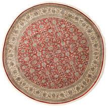Kashmir Ren Silke Teppe Ø 245 Ekte Orientalsk Håndknyttet Rundt Lysbrun/Lys Grå (Silke, India)