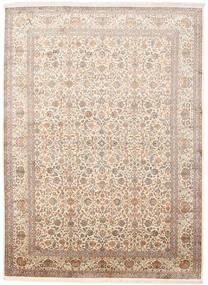 Kashmir Ren Silke Teppe 246X336 Ekte Orientalsk Håndknyttet Beige/Brun (Silke, India)
