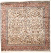 Kashmir Ren Silke Teppe 247X253 Ekte Orientalsk Håndknyttet Kvadratisk Brun/Lys Grå (Silke, India)