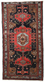 Hamadan Teppe 100X185 Ekte Orientalsk Håndknyttet Svart/Mørk Brun (Ull, Persia/Iran)