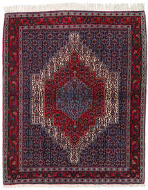 Senneh Teppe 130X154 Ekte Orientalsk Håndknyttet Mørk Rød/Svart (Ull, Persia/Iran)