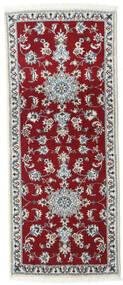 Nain Teppe 80X200 Ekte Orientalsk Håndknyttet Teppeløpere Mørk Rød/Rød (Ull, Persia/Iran)