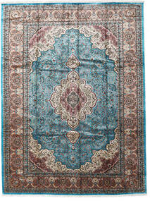 Kashmir Art. Silke Teppe 276X370 Ekte Orientalsk Håndknyttet Lys Grå/Svart Stort ( India)