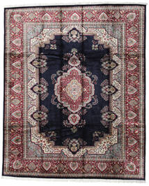 Kashmir Art. Silke Teppe 246X300 Ekte Orientalsk Håndknyttet Svart/Lys Grå ( India)