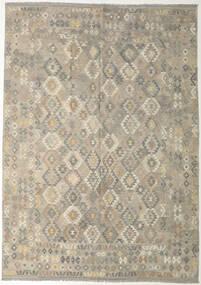 Kelim Afghan Old Style Teppe 240X341 Ekte Orientalsk Håndvevd Lys Grå/Olivengrønn (Ull, Afghanistan)