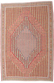 Kelim Senneh Teppe 203X306 Ekte Orientalsk Håndvevd Mørk Rød/Lysbrun (Ull, Persia/Iran)