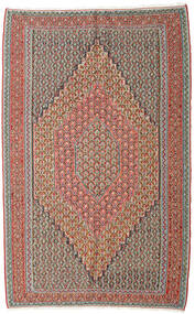 Kelim Senneh Teppe 152X245 Ekte Orientalsk Håndvevd Lys Grå/Mørk Rød (Ull, Persia/Iran)