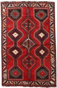 Shiraz Teppe 155X241 Ekte Orientalsk Håndknyttet Mørk Rød/Rust (Ull, Persia/Iran)
