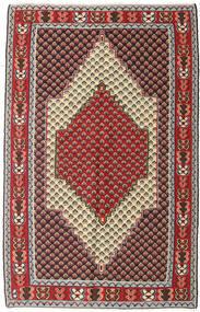 Kelim Senneh Teppe 127X202 Ekte Orientalsk Håndvevd Mørk Brun/Mørk Rød (Ull, Persia/Iran)