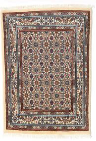 Moud Teppe 62X85 Ekte Orientalsk Håndknyttet Beige/Mørk Brun (Ull/Silke, Persia/Iran)