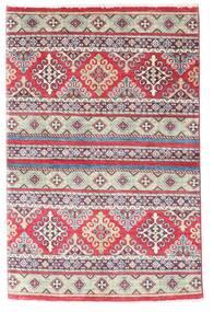 Kazak Teppe 96X147 Ekte Orientalsk Håndknyttet Lilla/Lys Grå (Ull, Afghanistan)
