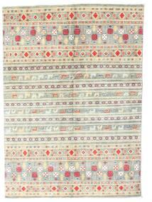 Kazak Teppe 142X199 Ekte Orientalsk Håndknyttet Beige/Lys Grå (Ull, Pakistan)