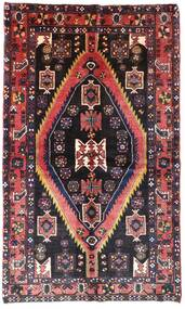 Hamadan Teppe 140X222 Ekte Orientalsk Håndknyttet Mørk Brun/Lyserosa (Ull, Persia/Iran)