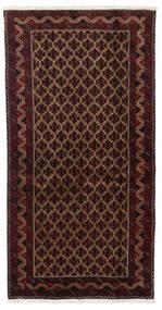 Beluch Teppe 96X188 Ekte Orientalsk Håndknyttet Mørk Rød/Mørk Brun (Ull, Persia/Iran)