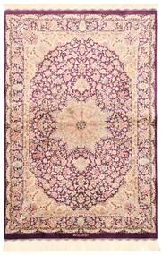 Ghom Silke Teppe 100X148 Ekte Orientalsk Håndvevd Beige/Lyserosa (Silke, Persia/Iran)