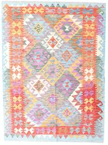 Kelim Afghan Old Style Teppe 132X178 Ekte Orientalsk Håndvevd Hvit/Creme/Lyserosa (Ull, Afghanistan)