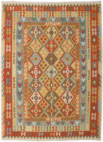 Kelim Afghan Old Style Teppe 260X348 Ekte Orientalsk Håndvevd Mørk Beige/Lysbrun Stort (Ull, Afghanistan)