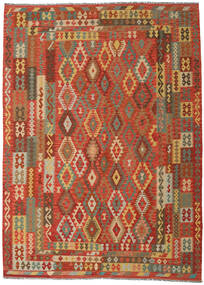 Kelim Afghan Old Style Teppe 249X344 Ekte Orientalsk Håndvevd Orange/Mørk Beige (Ull, Afghanistan)