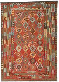 Kelim Afghan Old Style Teppe 246X349 Ekte Orientalsk Håndvevd Rust/Mørk Grå (Ull, Afghanistan)