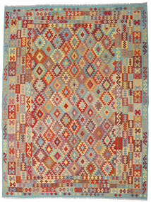 Kelim Afghan Old Style Teppe 267X348 Ekte Orientalsk Håndvevd Mørk Rød/Mørk Grå Stort (Ull, Afghanistan)