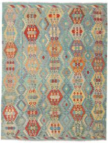 Kelim Afghan Old Style Teppe 259X337 Ekte Orientalsk Håndvevd Mørk Beige/Lysgrønn Stort (Ull, Afghanistan)