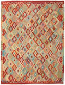 Kelim Afghan Old Style Teppe 263X337 Ekte Orientalsk Håndvevd Mørk Beige/Lysgrønn Stort (Ull, Afghanistan)