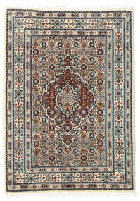 Moud Teppe 60X85 Ekte Orientalsk Håndknyttet Beige/Lys Grå/Mørk Brun (Ull/Silke, Persia/Iran)