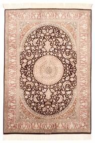 Ghom Silke Teppe 100X146 Ekte Orientalsk Håndvevd Mørk Brun/Lyserosa (Silke, Persia/Iran)