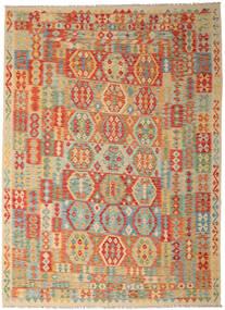 Kelim Afghan Old Style Teppe 250X346 Ekte Orientalsk Håndvevd Mørk Beige/Lysgrønn Stort (Ull, Afghanistan)